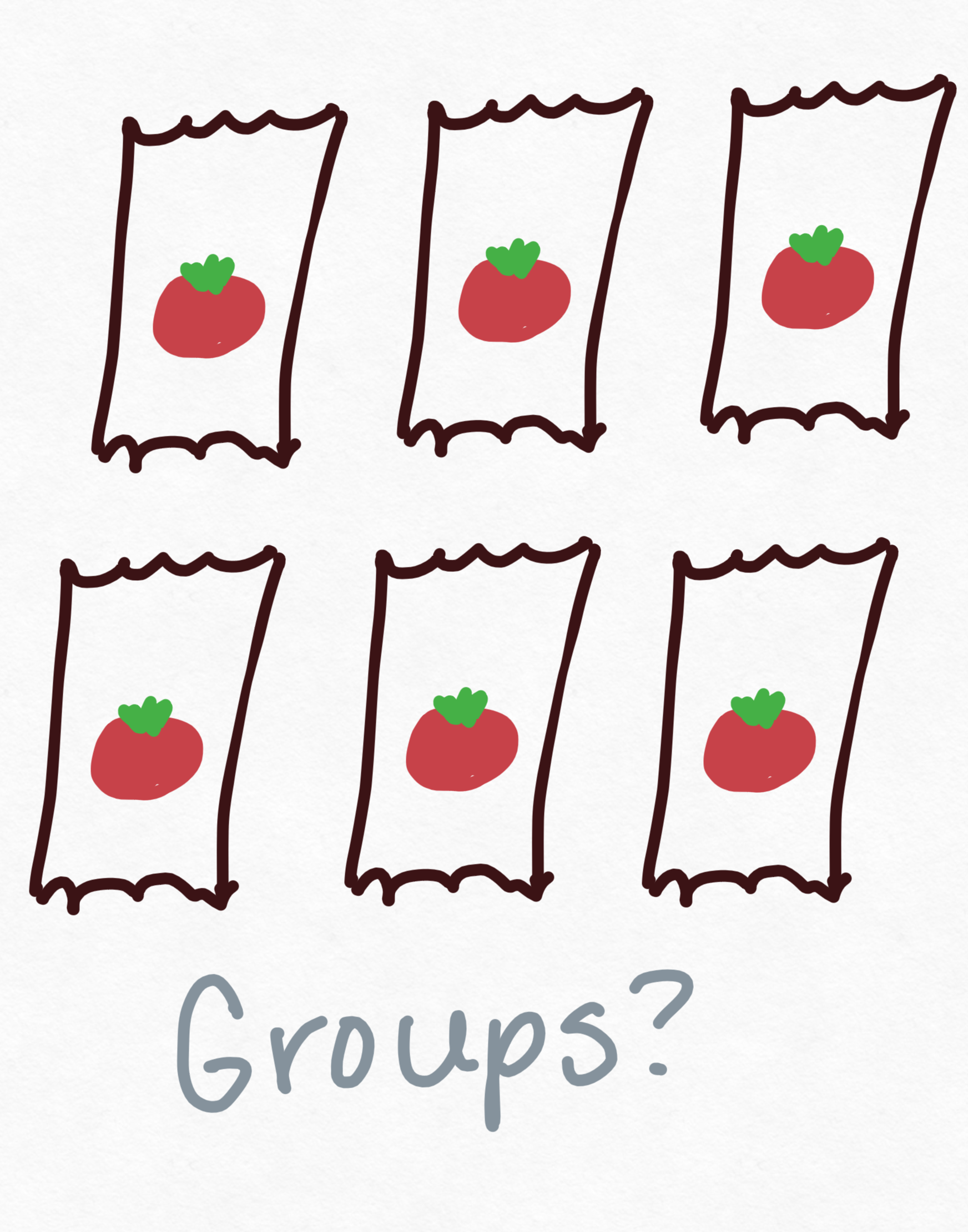 6 cartoon ketchup packets and the word groups? beneath it.